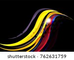 rainbow color wavy lines on... | Shutterstock .eps vector #762631759