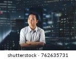 businessman looking impatient... | Shutterstock . vector #762635731