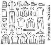 man clothes and accessories... | Shutterstock .eps vector #762636331