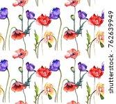 wildflower poppy flower pattern ... | Shutterstock . vector #762639949
