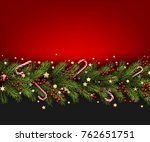 christmas background with fir... | Shutterstock .eps vector #762651751