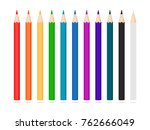 set of pencils. colorful... | Shutterstock . vector #762666049