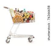 shopping cart full of food stuff   Shutterstock . vector #76266658