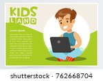 smiling teenager boy sitting... | Shutterstock .eps vector #762668704