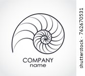nautilus shell spiral shape logo   Shutterstock .eps vector #762670531