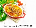 ragout of turkey meat  tomato ... | Shutterstock . vector #762672157