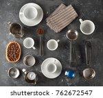barista equipment on a gray... | Shutterstock . vector #762672547
