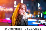 beauty woman using mobile phone ... | Shutterstock . vector #762672811