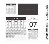 2018 july calendar planner...   Shutterstock .eps vector #762680209