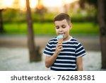 a little in a stripper t shirt... | Shutterstock . vector #762683581