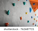grey wall with climbing holds... | Shutterstock . vector #762687721