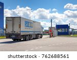 St. Petersburg, Russia - July 27, 2017: a lorry is going to security check point. - stock photo