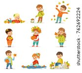 autumn children s outdoor... | Shutterstock .eps vector #762692224