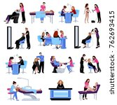 beauty salon people set of... | Shutterstock . vector #762693415