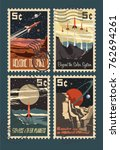 vintage space postage stamps.... | Shutterstock .eps vector #762694261