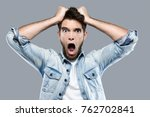 portrait of angry young man... | Shutterstock . vector #762702841