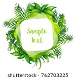 border template with leaves in... | Shutterstock .eps vector #762703225