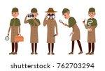 classic detective vector. retro ... | Shutterstock .eps vector #762703294