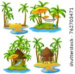 four islands with wooden hut... | Shutterstock .eps vector #762703471
