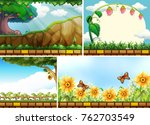 four background scenes of parks ... | Shutterstock .eps vector #762703549