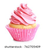 tasty colorful cupcake on white ... | Shutterstock . vector #762705409
