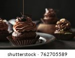 tasty chocolate cupcake on... | Shutterstock . vector #762705589