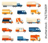 colorful delivery trucks of... | Shutterstock . vector #762706009