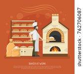 male baker working in bakery... | Shutterstock . vector #762706087