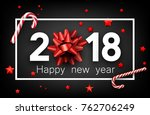 grey 2018 happy new year... | Shutterstock .eps vector #762706249