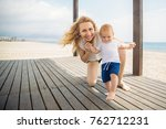 cute baby child boy doing his... | Shutterstock . vector #762712231
