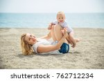 mother playing with little son... | Shutterstock . vector #762712234