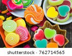 various colorful sugary candy... | Shutterstock . vector #762714565
