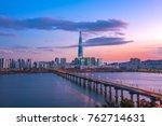 skyline sunset at han river... | Shutterstock . vector #762714631