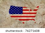 Us Painted Map On Dirty Old...