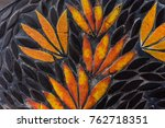 flower mosaic pattern with... | Shutterstock . vector #762718351