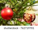 christmas tree with ball... | Shutterstock . vector #762719701