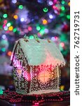 gingerbread house with lights... | Shutterstock . vector #762719731