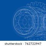 gearbox sketch. vector... | Shutterstock .eps vector #762722947