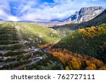 aerial view of the the vikos... | Shutterstock . vector #762727111