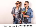 beautiful fashion couple with... | Shutterstock . vector #762727579