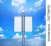 blank white lamp post banner... | Shutterstock . vector #762738931