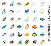 tsunami icons set. isometric... | Shutterstock .eps vector #762739114