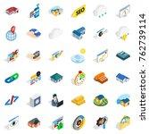 tsunami icons set. isometric... | Shutterstock .eps vector #762739114