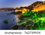seaside sunset landscape  ... | Shutterstock . vector #762739924