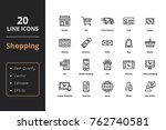 20 shopping thin line icon....