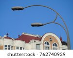 double metal street lamp on a... | Shutterstock . vector #762740929