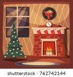 merry christmas. fireplace and... | Shutterstock .eps vector #762742144