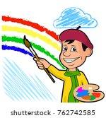 heerful artist draws a rainbow ... | Shutterstock .eps vector #762742585