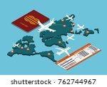 flat 3d isometric air travel...   Shutterstock .eps vector #762744967