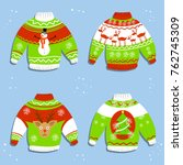 christmas sweater with tree ... | Shutterstock .eps vector #762745309